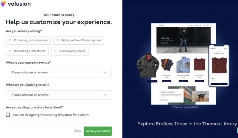 Screenshot of Volusion design customization