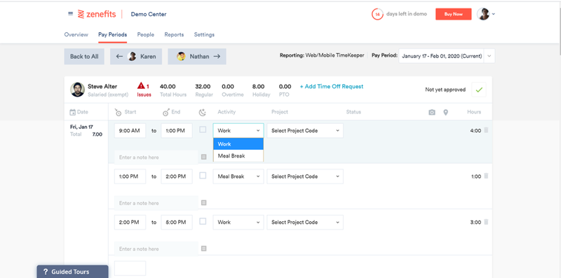 Screenshot of the Zenefits attendance page.