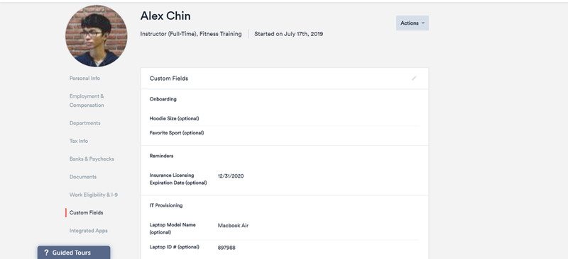 Zenefits employee profile with options to collect custom information (e.g. hoodie size and favorite sport).