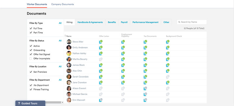 Zenefits table of employee documents with employee avatar, name, and list of signed signed documents per employee.