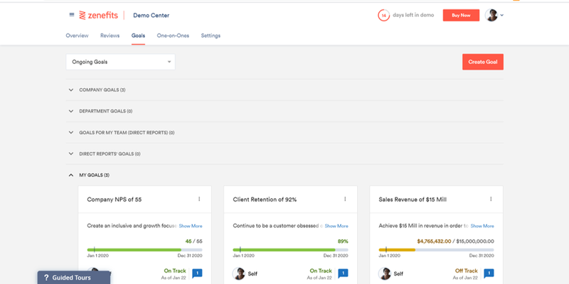 Zenefits goals page with different options to set company, department, team, and personal goals.