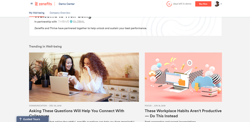 Zenefits well-being center with articles focused on employee corporate health.