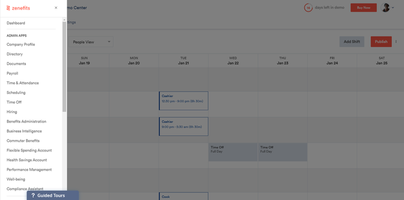 Zenefits calendar screen with navigation on the left-hand side.
