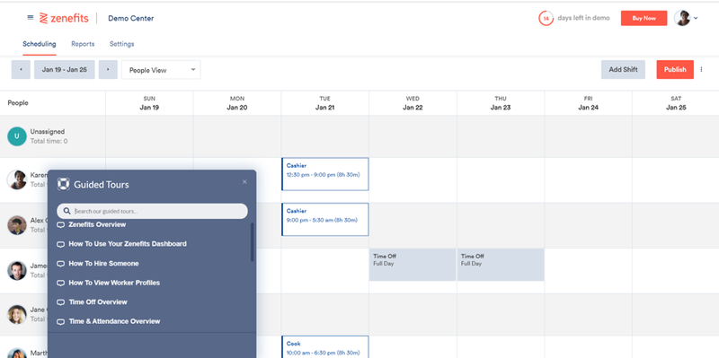 Zenefits calendar screen showing employees and scheduled activities such as training or PTO.