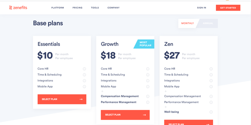 Zenefits pricing in three tiers.
