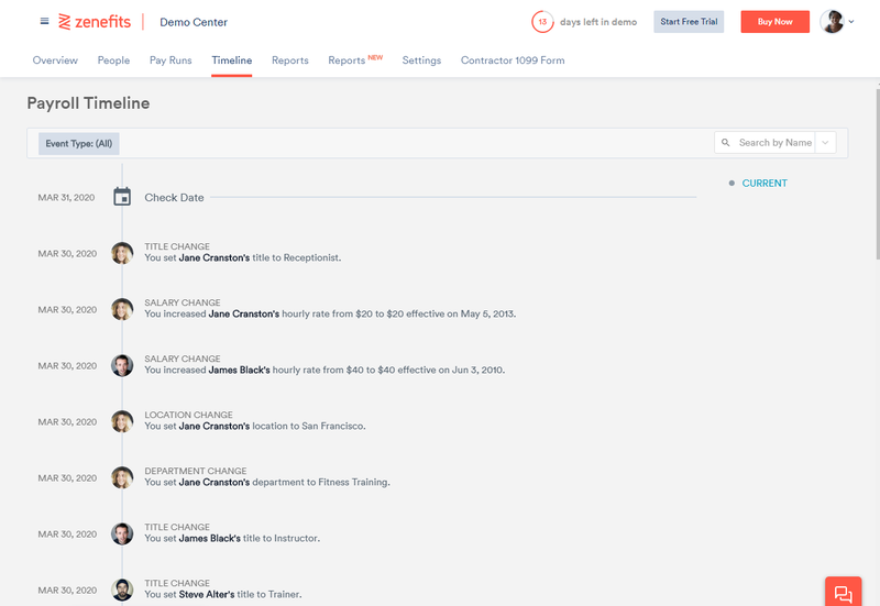 A screenshot of Zenefits Payroll feature for payroll managers.
