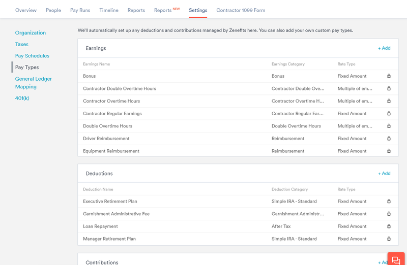 Screenshot of Zenefits Payroll custom pay types and deductions section.