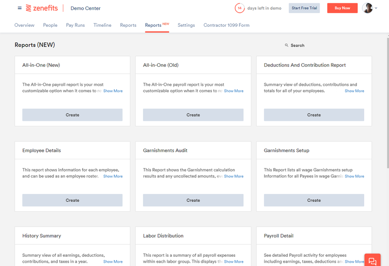 Screenshot of Zenefits Payroll payroll-related reports.area.