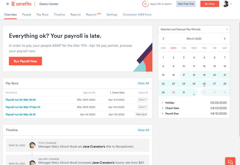 A screenshot of the Zenefits Payroll dashboard for summarized payroll details.