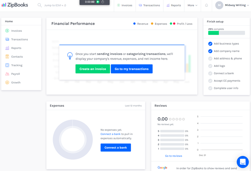ZipBooks financial performance screen which shows your expense amount through a pie chart, your Google review star rating, and your system setup progress.