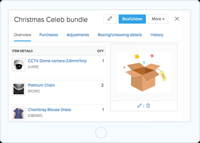 Screenshot of Zoho's product bundling screen featuring a Christmas product bundle.