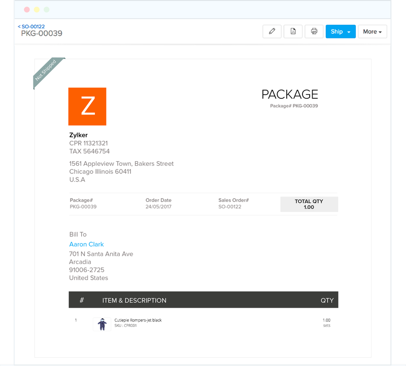 A package review screen from Zoho featuring products and delivery address.