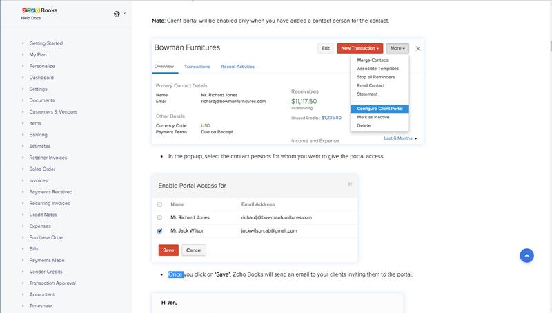 Zoho Books Portal Setup Screenshot