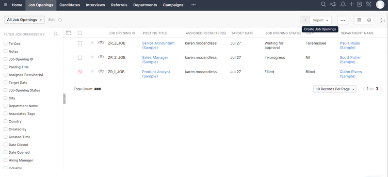 Zoho Recruit's job opening screen displaying list of available jobs