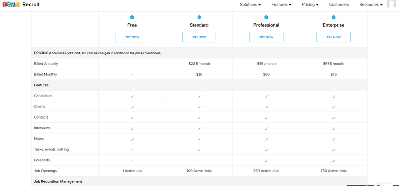 Zoho Recruit's pricing screen with tiered pricing plans
