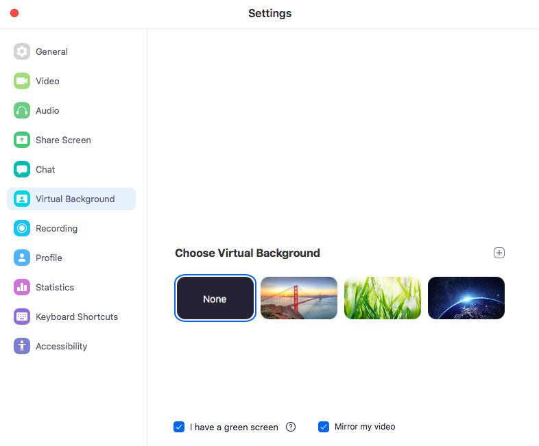 Zoom settings showing the virtual background available, with a toolbar of setting options on the left-hand side.
