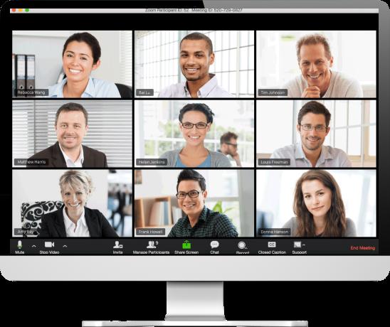 Zoom Meetings displays 9 screens during meeting