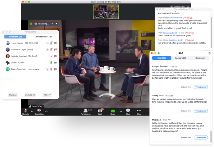Screenshot of Zoom Webinars feature for large meetings, including a Q&A window, a chat window, participants window, and video feed.