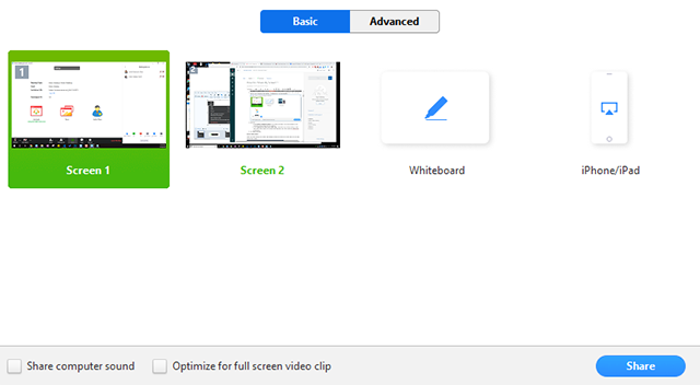Four screen sharing options for Zoom Meetings, including Whiteboard, iPhone and iPad, and two screens.