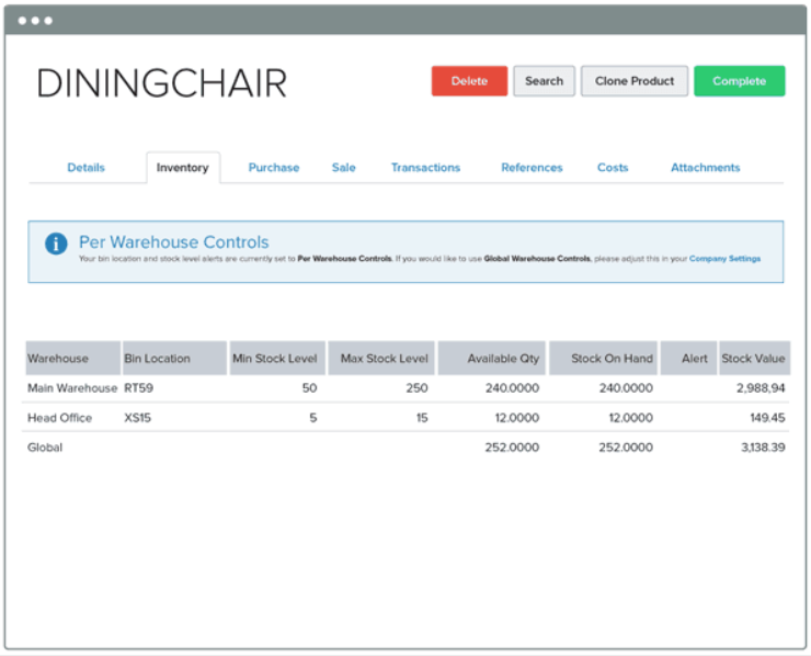 Unleashed's stock management dashboard showing the number of dining chairs in stock.