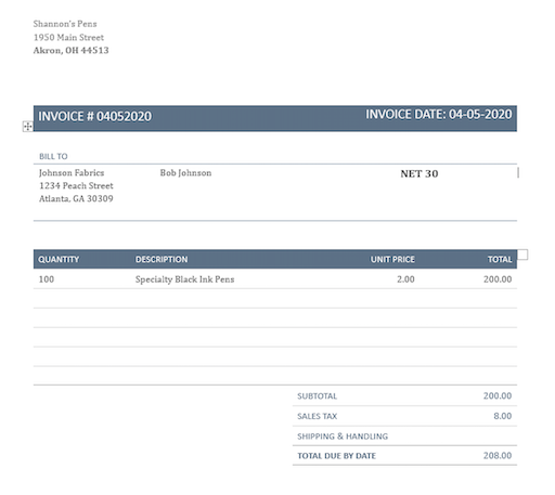 Example of invoice with net 30 terms