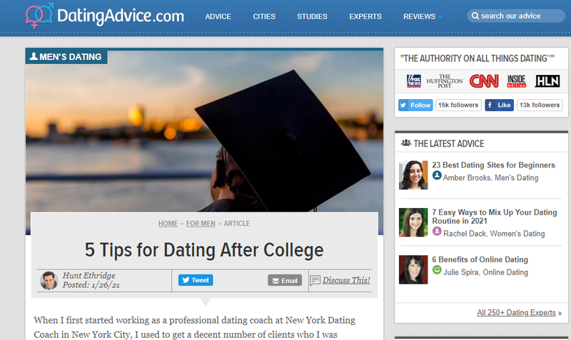 The Dating Advice affiliate marketing website.