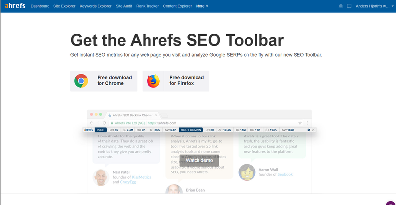Screenshot of the Chrome and Firefox SEO toolbar extension page in Ahrefs.