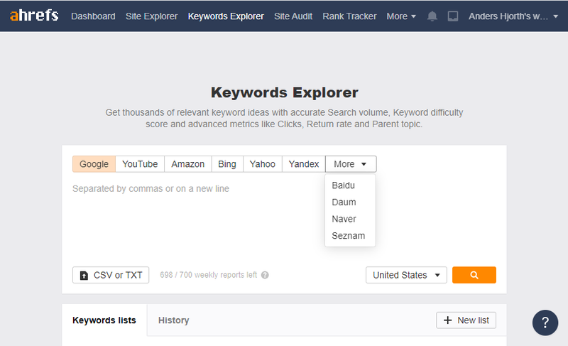 Screenshot of the Keywords Explorer.