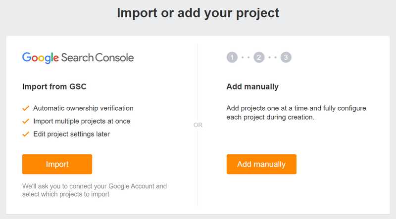 Screenshot of Ahrefs setup prompting you to import sites you have in your Google Search Console.
