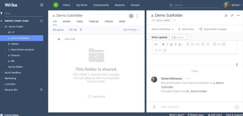 Wrike's project folder system