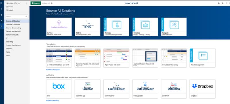 Smartsheet's templates
