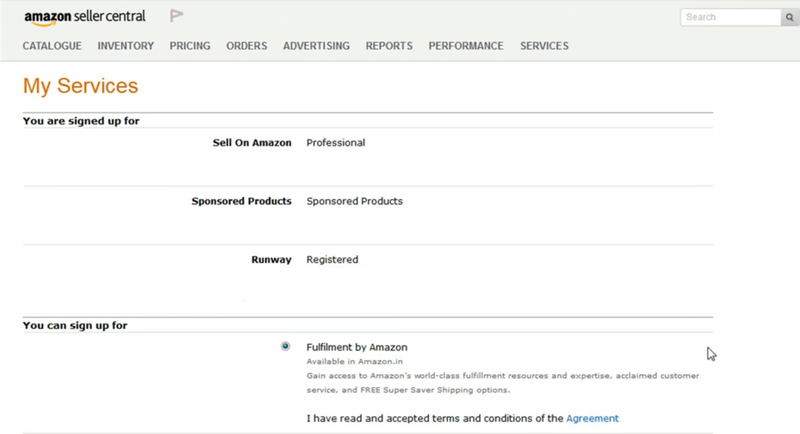 An Amazon seller account registering for FBA.