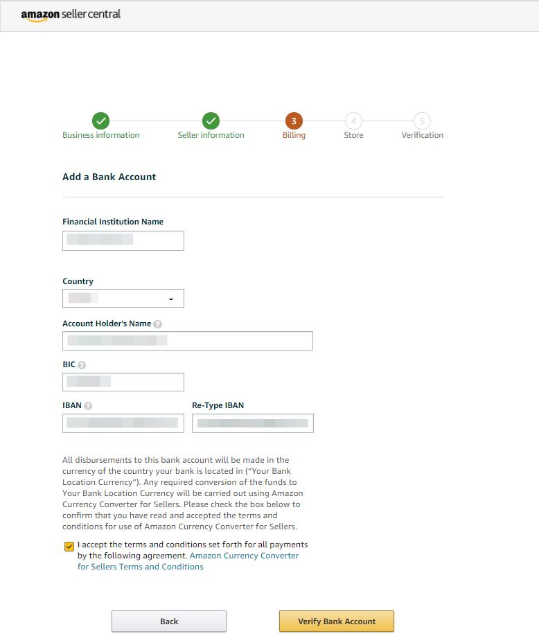 The billing information step in the Seller Central setup.