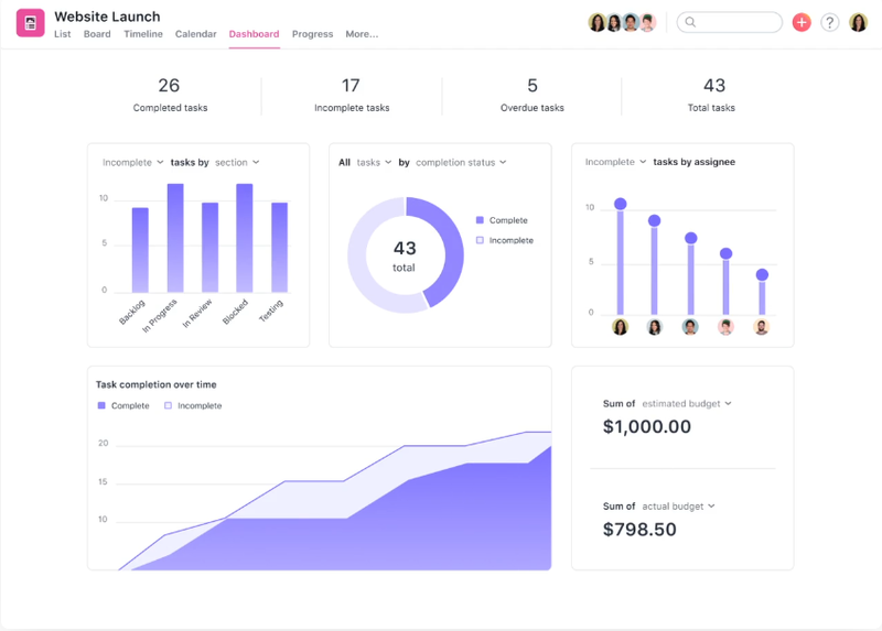 Asana's website launch progress dashboard, complete with task completion rates and budgeting.