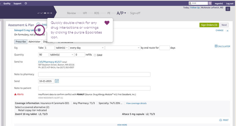The drug interaction check feature on athenaOne.