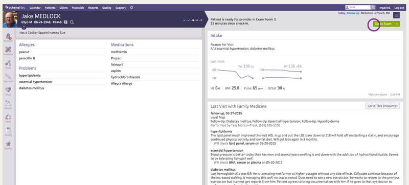 The athenaOne patient summary screen.