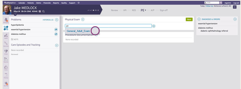 athenaOne's text shortcuts are used to document physical exam notes.