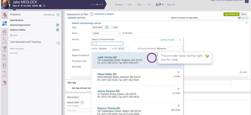 The athenaOne drop-down menu for provider referral.