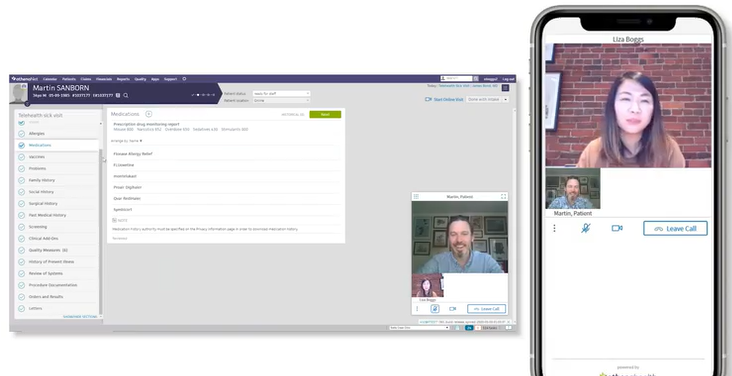 An athenaOne telehealth sample patient conference.
