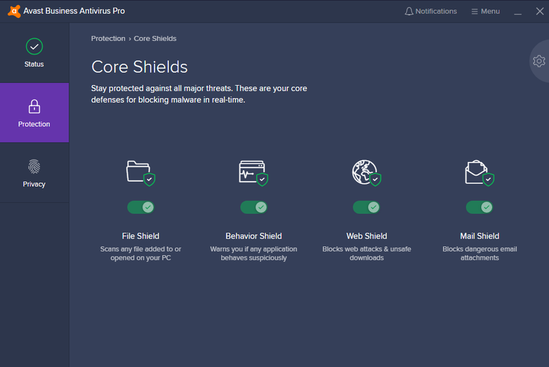 Avast Business Antivirus Pro's sidebar with protection module selected showing four virus protection options