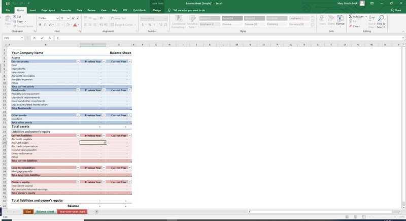 A screenshot of Microsoft Excel balance sheet template for accounting.