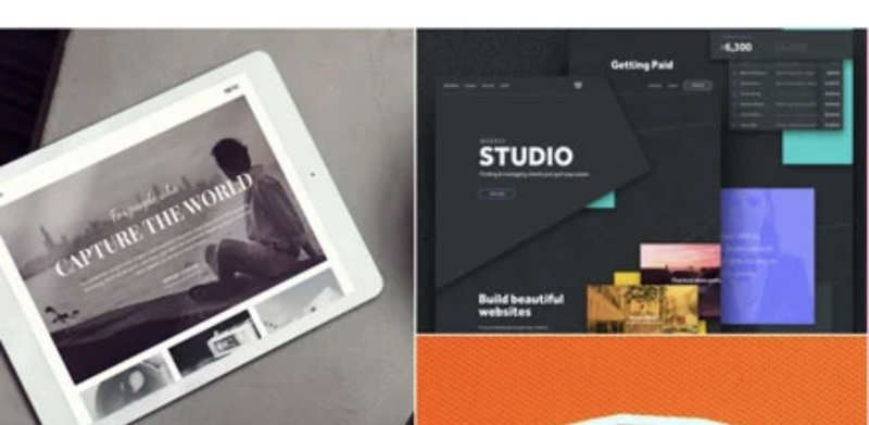 A screenshot of Weebly theme options, one showing a muted photo on an angled tablet and the other an illustration to look like overlapping notes in gray, turquoise, and purple.