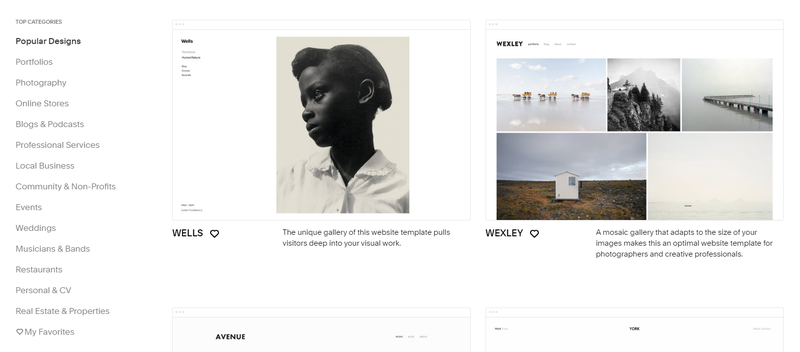 The library of Squarespace themes sorted by popular designs on the toolbar on the left, featuring a portrait and a landscape collage on the right.