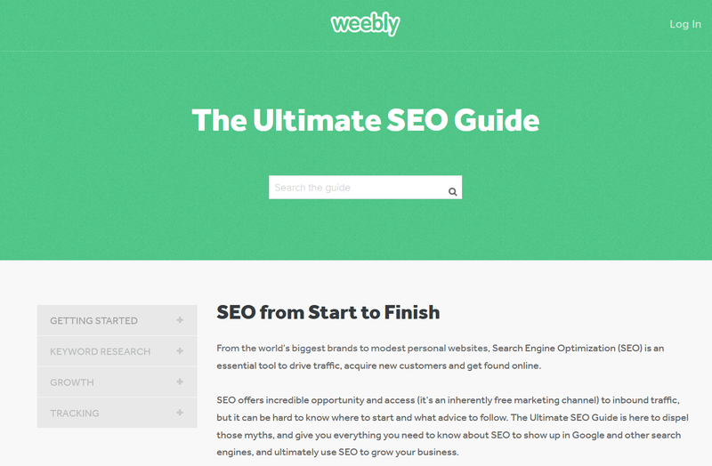 A screenshot of Weebly's Ultimate SEO Guide.