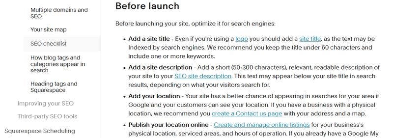 A screenshot of Squarespace's SEO checklist.