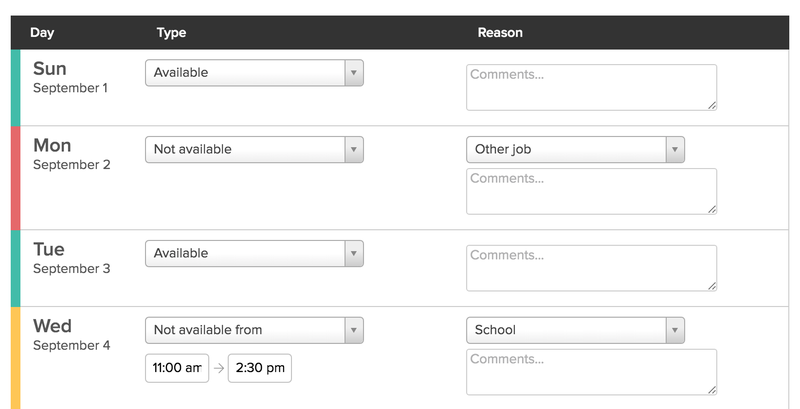 A view of the back-end of 7shifts displaying dates, availability, and notes fields.