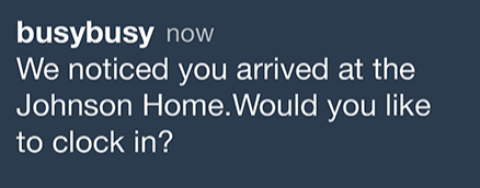 A push notification prompting an employee to clock in.