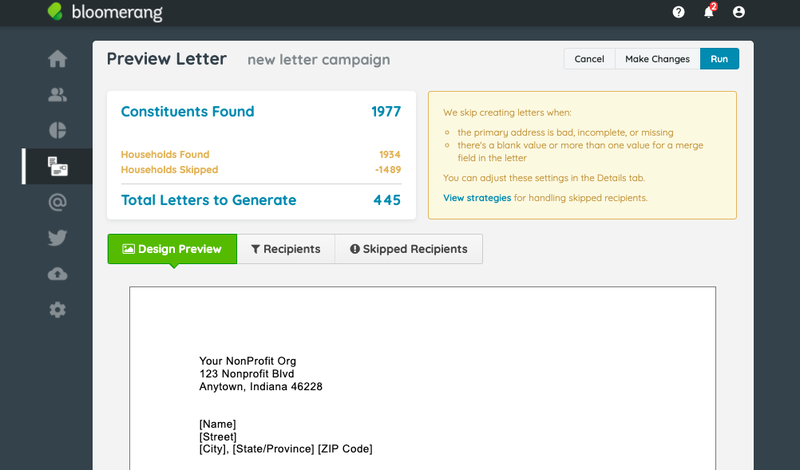 Preview of a letter built in Bloomerang with a number of letters to be generated.