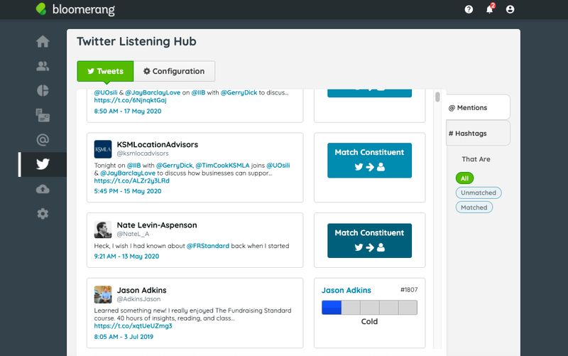 The Twitter Listening Hub in Bloomerang displaying tweets and constituents.