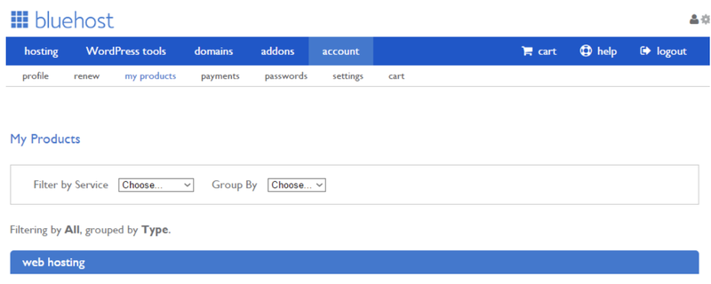 The home dashboard of Bluehost with tabs for pages like Profile and My Products.